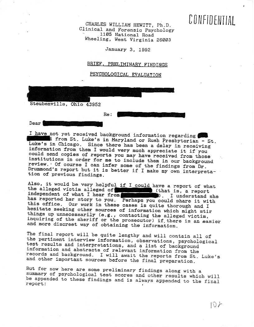 CharlesWmHewittPsychologicalReport – Psychological Report
